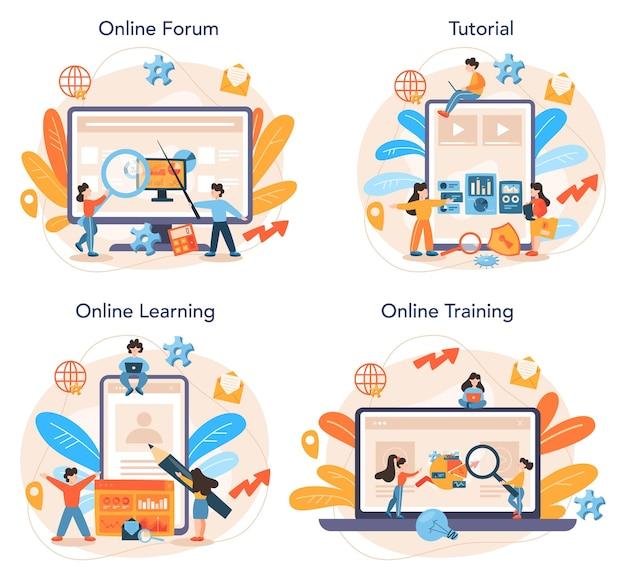 웹 사이트 분석가 온라인 서비스 또는 플랫폼 세트