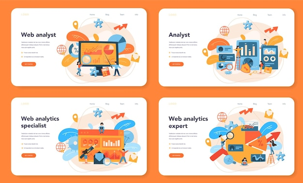 Website analyst web banner or landing page set