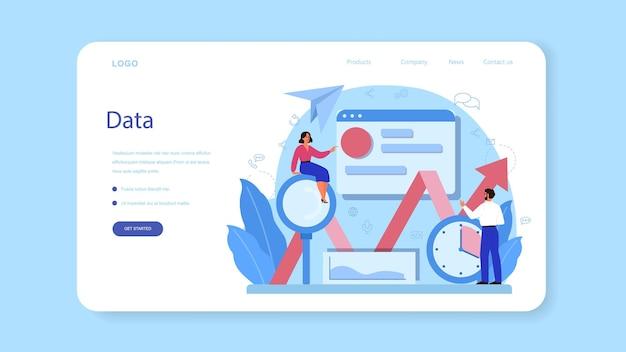 Веб-баннер или целевая страница веб-аналитика Premium векторы