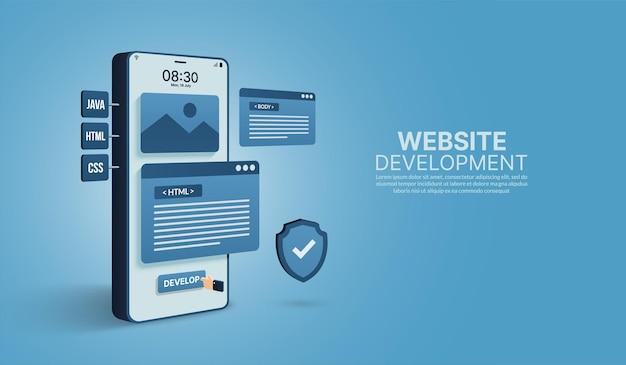 웹사이트 및 모바일 애플리케이션 개발 코딩 및 프로그래밍 개념 반응형 ux ui 디자인