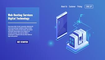 Website and web application hosting, server room rack, data exchange, file traffic