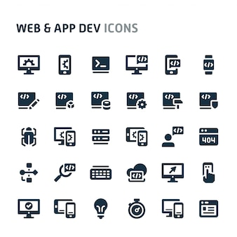 Website and application development icon set. fillio black icon series.