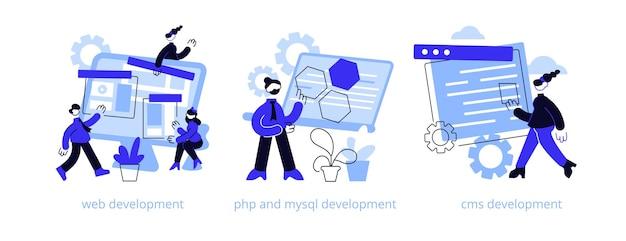 ウェブサイトアーキテクチャ抽象的な概念イラストセット。