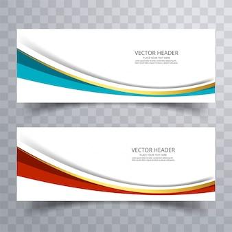 Website banner design with wave background