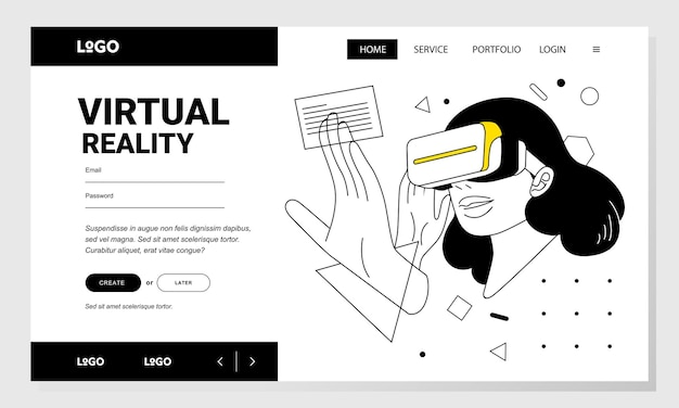 仮想ユーザーインターフェイスを使用して仮想現実の女性のウェブサイトバナー線画ベクトルイラスト