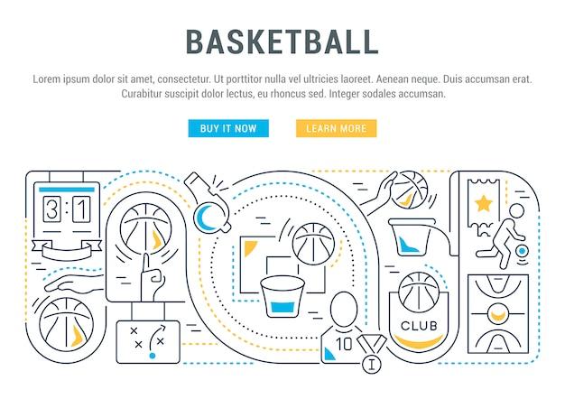 Баннер веб-сайта или целевая страница баскетбола.