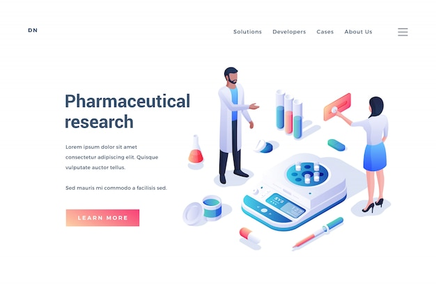 Website banner promoting research of pharmaceutical company