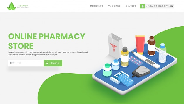 Website banner with different medical equipment on smartphone.