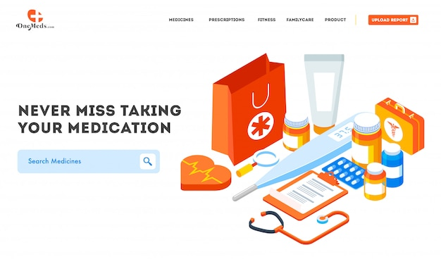 Website banner with different medical equipment