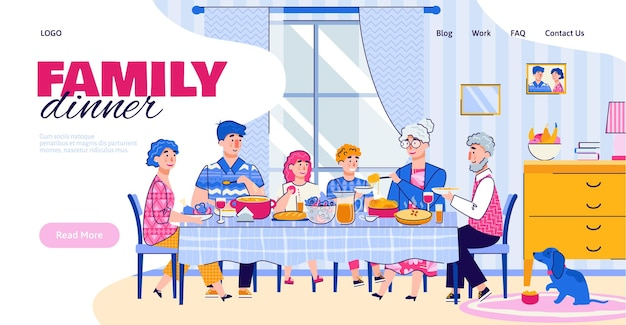 Website banner with family having a dinner together cartoon vector illustration