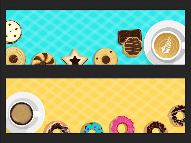 도넛과 커피와 함께 웹 사이트 배너입니다.