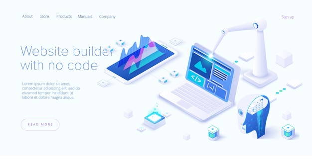 Website builder illustration in isometric design. computer neural network or ai on programming