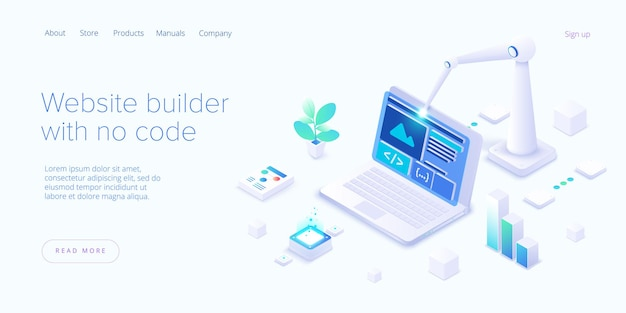 アイソメトリックデザインのウェブサイトビルダー。 web開発クラウドベースのサービス。