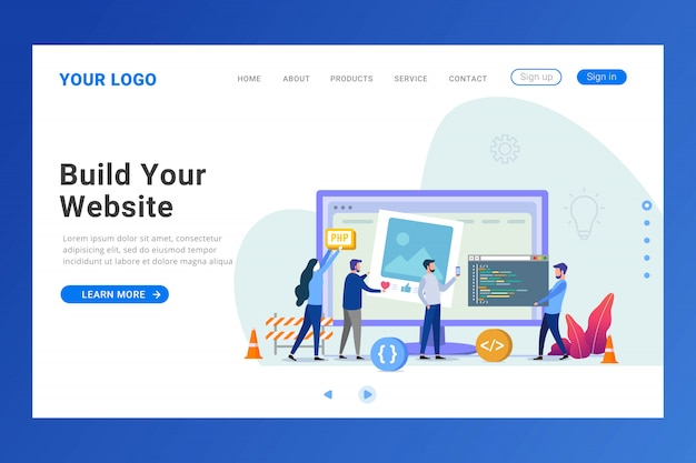 Website builder landing page template