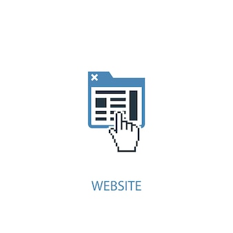 ウェブサイトのコンセプト2色のアイコン。シンプルな青い要素のイラスト。ウェブサイトのコンセプトシンボルデザイン。 webおよびモバイルui / uxに使用できます