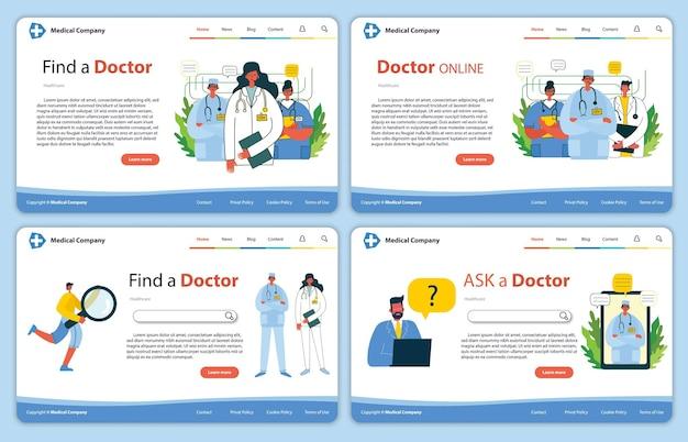 Website concept design for medical help resources online doctor instant help approach healthcare bus...