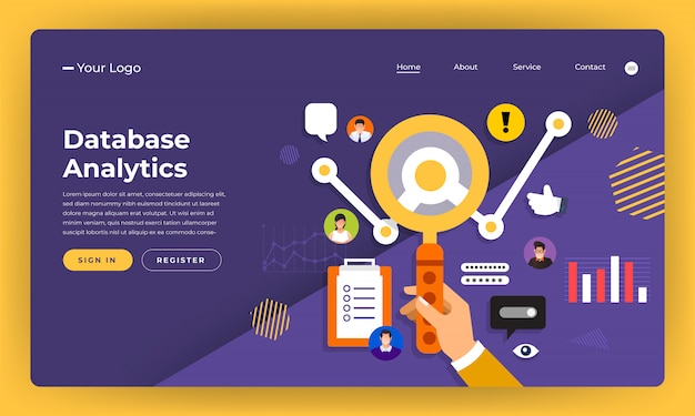Website   concept digital marketing.data information analystic.  illustration.