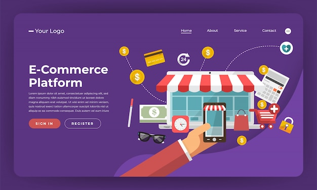 Website   concept digital marketing. e-commerce platform.  illustration.