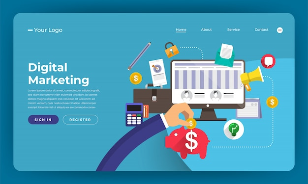 Website   concept digital marketing.  illustration.