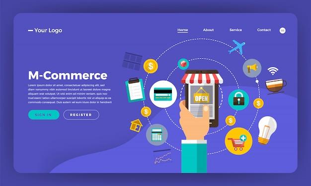 Концепция веб-сайта цифрового маркетинга. мобильные покупки в мобильной коммерции. иллюстрация.