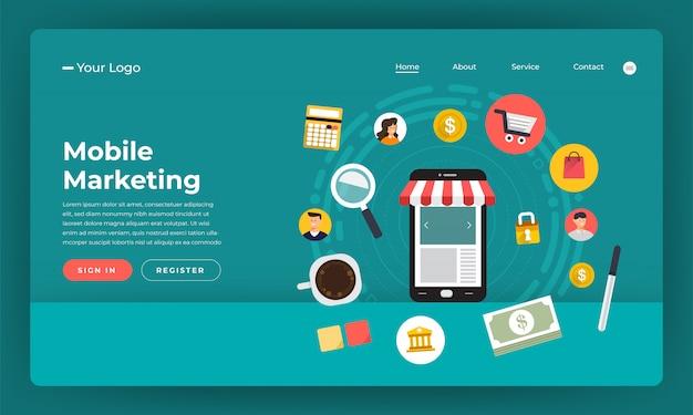 ウェブサイトのコンセプトデジタルマーケティング。モバイルマーケティング。図。