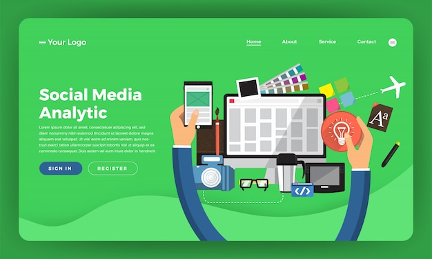 Website   concept digital marketing. web design development.   illustration.