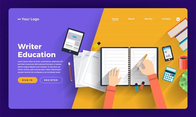 Концепция сайта онлайн-курс о тонком и творческом писателе. иллюстрация.