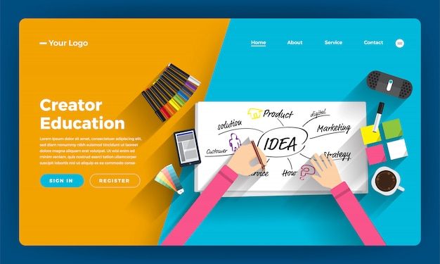Website   concept online course about thining and creative writer.  illustration.