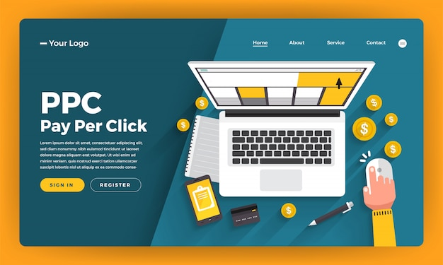 Website   concept ppc pay per click.  illustration.