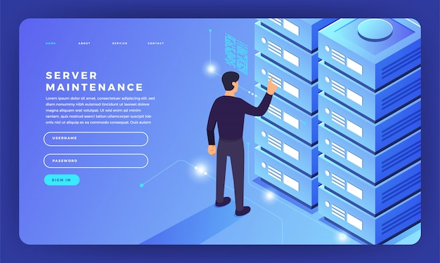 Website   concept server hosting information.  illustration.