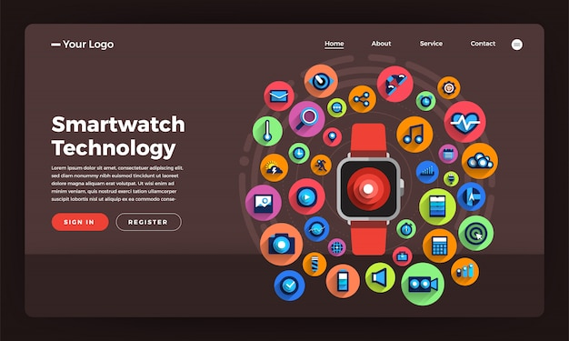 Website   concept smartwatch wearable technology.  illustration.