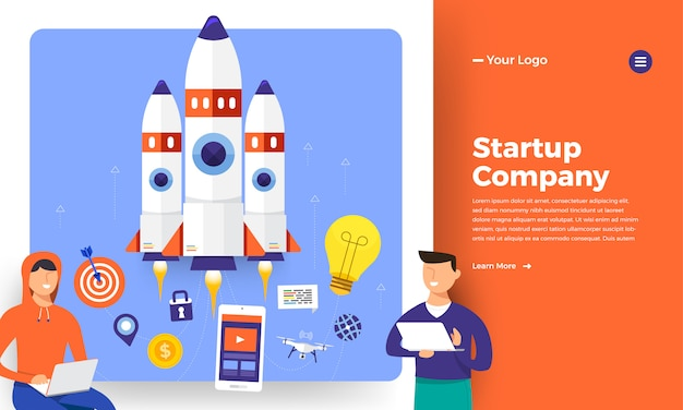 Website   concept stratup rocket rise from computer.   illustration.