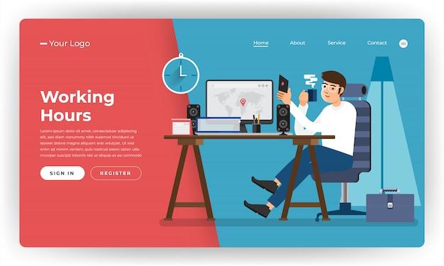 Веб-сайт концепции рабочего времени работник в офисе. иллюстрация.