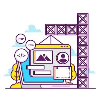 Иллюстрация концепции строительства веб-сайта с ноутбуком