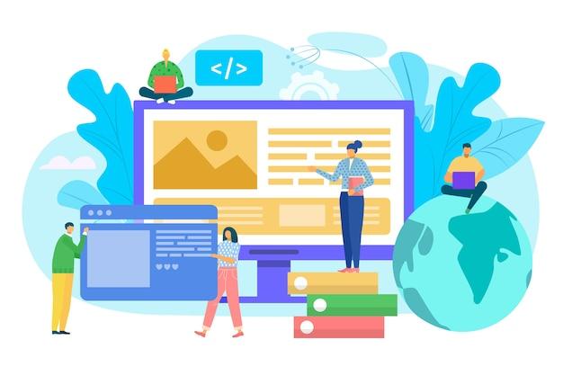 ウェブサイト構築コンセプト、uiインターフェイスプロトタイピング、web開発図。コンピューター上のwebサイトインターフェイスを構築する人々。 ui ux、使いやすさ、モックアップ、ワイヤーフレーム開発コンセプト。