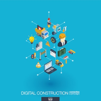 Website under construction integrated  web icons. digital network isometric interact concept. connected graphic  dot and line system. abstract background for app development.  infograph