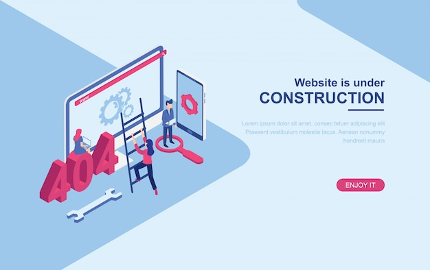 Website under construction page isometric landing page web template