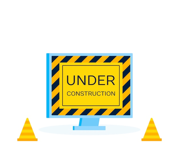 Website under construction page. modern illustration in flat style