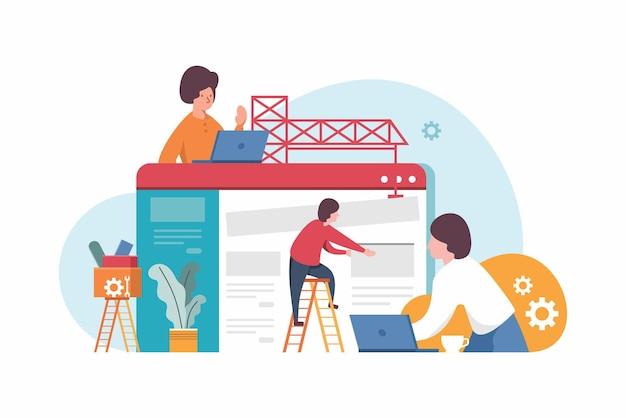 웹사이트에서 작업 하는 평면 스타일 사람들의 웹사이트 건설 웹 디자인 개념 그림