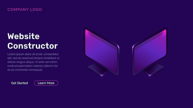 Website constructor isometric concept