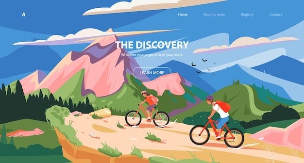 Website  cycle sport template slider design adventure of a young man in the mountains on bike