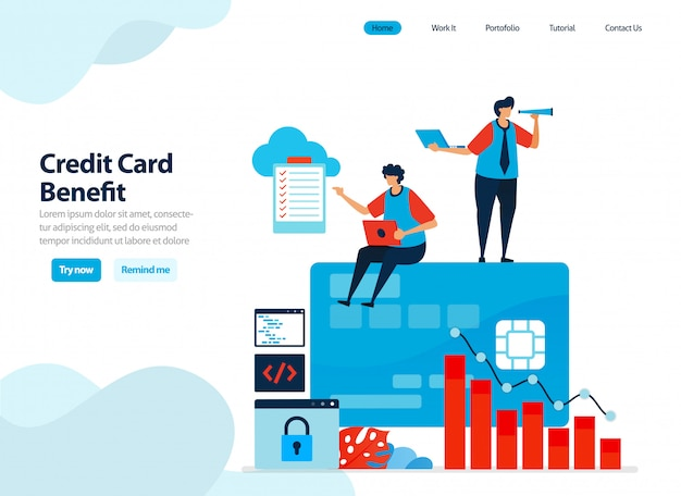 Website design of benefits of using credit card. get a short-term loan with mild interest.