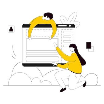 Веб-сайт дизайн иллюстрация плоская линия
