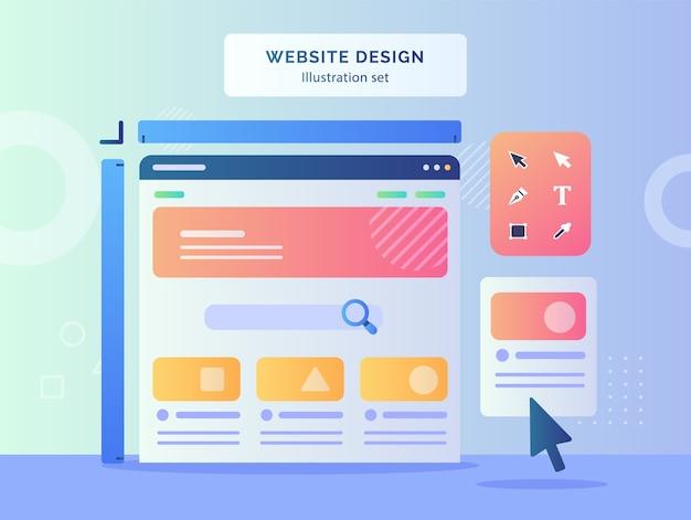 ウェブサイトのデザインのイラストは、フラットスタイルのデザインの描画ツール直接選択ツールテキストペンツールのディスプレイモニターコンピューターの背景にワイヤーフレームを設定します。