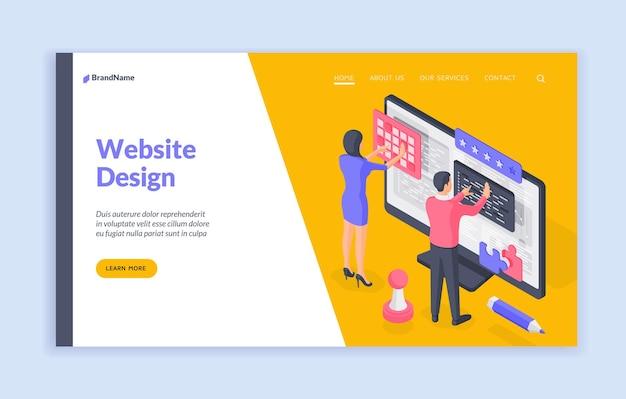 ウェブサイトのデザインのランディングページのバナーテンプレート
