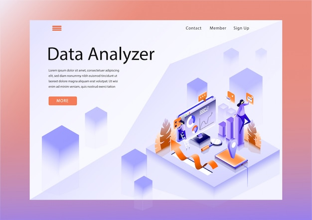Website design layout with data analyzer theme
