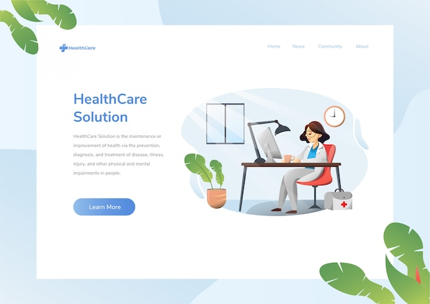 Website design layout with health care theme
