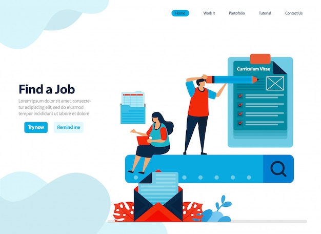 Website design of looking for work and finding employees.