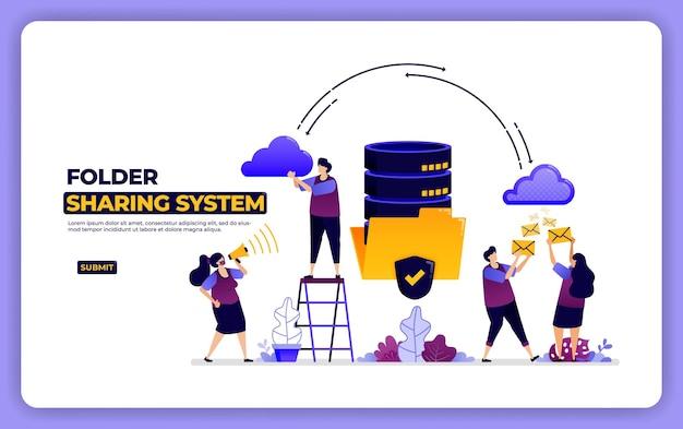 フォルダー共有システムのウェブサイトデザイン。データベースシステムのデータ共有管理。