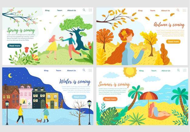Website design set for four seasons weather,  illustration